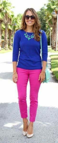 royal blue knit sweater with hot pink slim fit jeans