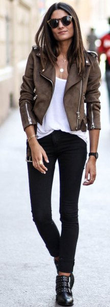 dark brown suede with suede cyclist with white top with shoe neck