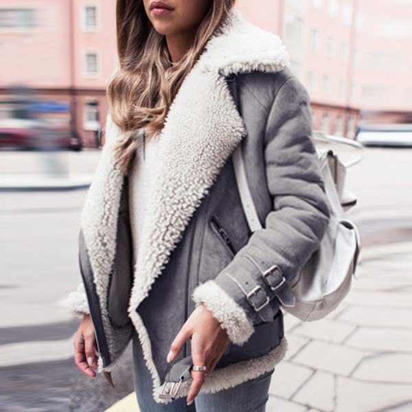 white faux fur collar suede cyclist jacket with skinny jeans