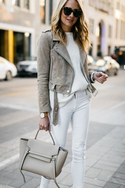 gray mock blazer with white ribbed casual fit shirt