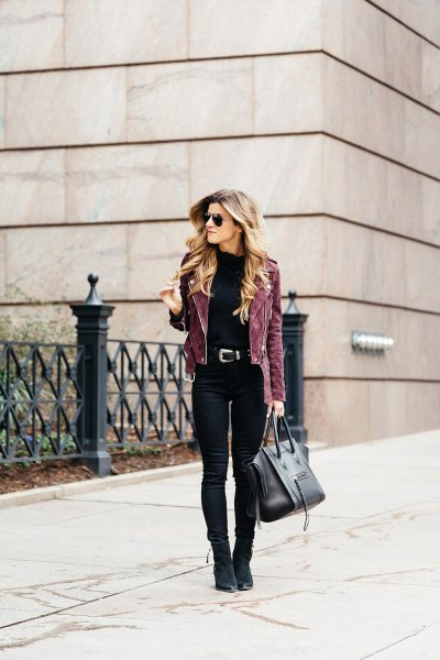 gray suede bike jacket with black skinny jeans and suede boots