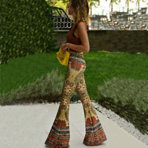 gray molded tank top with crepe tribal printed bell bell pants