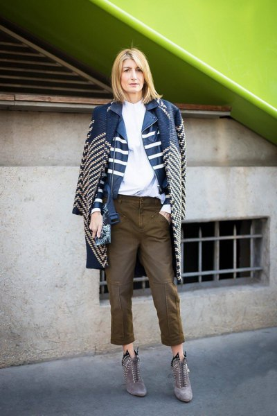 blue and white striped denim longline jacket with cropped bike jeans