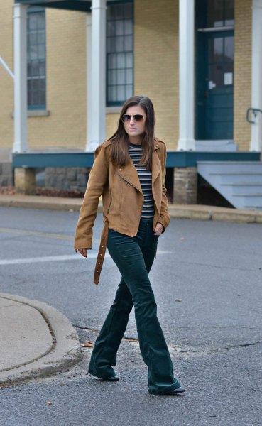 flared velvet jeans with brown suede suede jacket