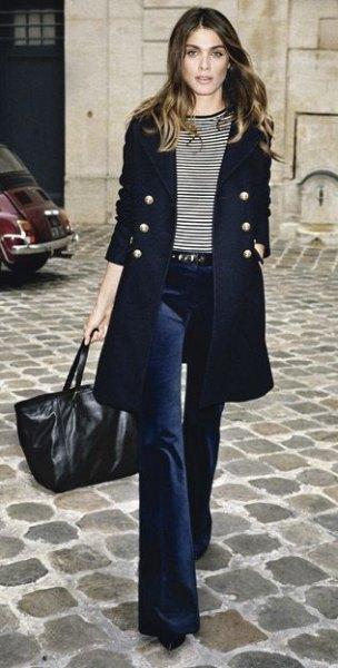 black long-line double-width long-line blazer with navy blue flared velvet jeans