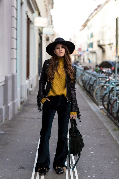 lime green sweater with sweater with black leather jacket and flushed velvet jeans