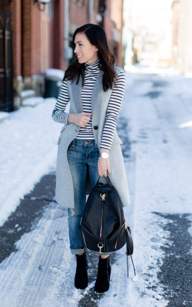 black and white turtleneck striped long sleeve tee with gray wool long waistcoat