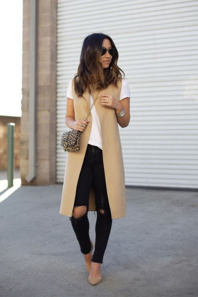 crepe mid-length vest with white tee and ripped skinny jeans