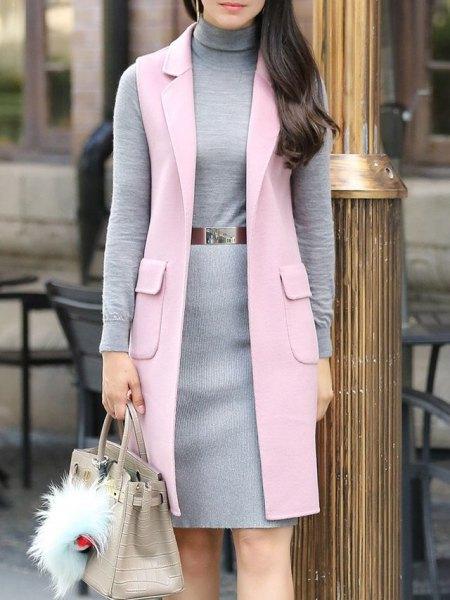 light gray long-line wool vest with turtleneck belt sweater dress