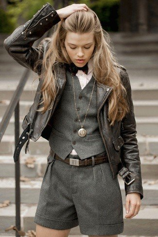 black leather jacket with gray vest and matching shorts