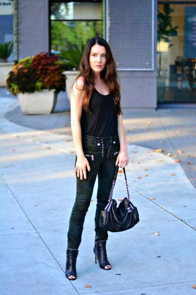 black tank top with moto lace pants