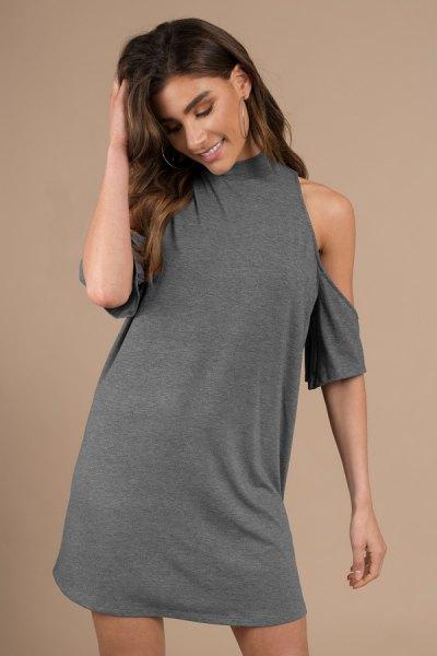 gray mock neck cold shoulder tunic dress