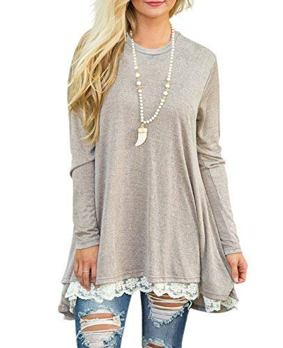 light gray lace with peeled long sleeve tunic with ripped skinny jeans