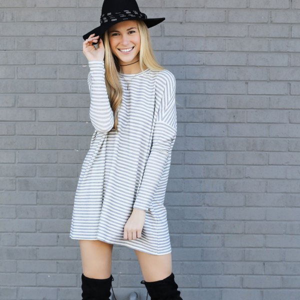 gray and white striped crew neck long sleeve mini tunic dress with felt hat