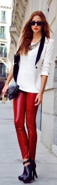white sweater with fitted blazer and leather legs