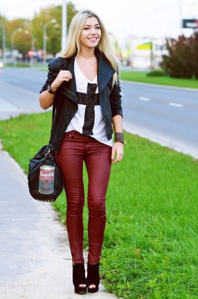 black leather blazer with matching red leather pants