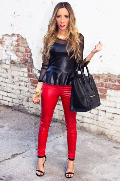 black leather peplum top with matching red pants