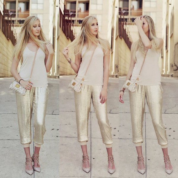 pink pink scoop neck top with sequin in gold jogger pants