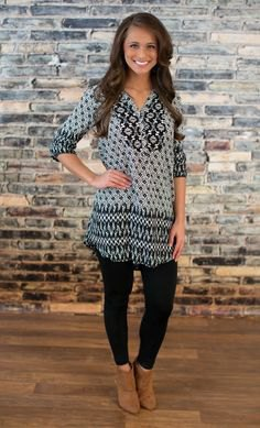 black and gray stem printed tunic blouse with camel boots