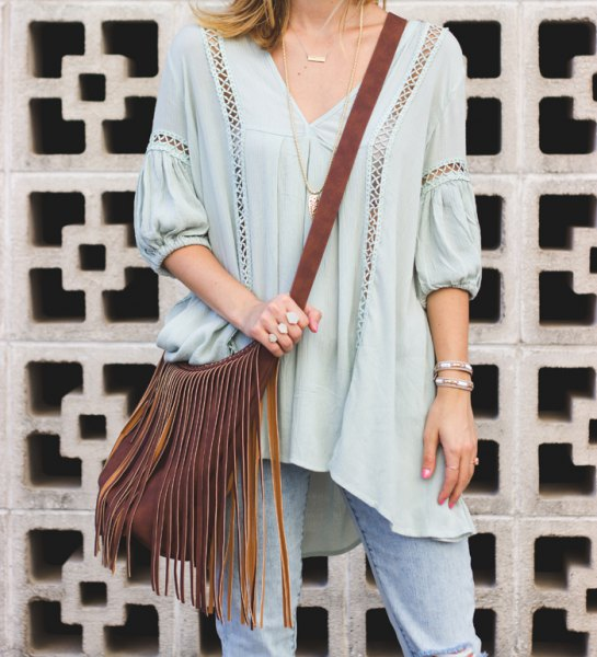 light blue half-heated v-neck tunic with top in cutout
