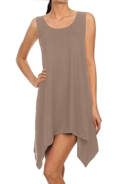 gray chiffon sleeveless high mini dress