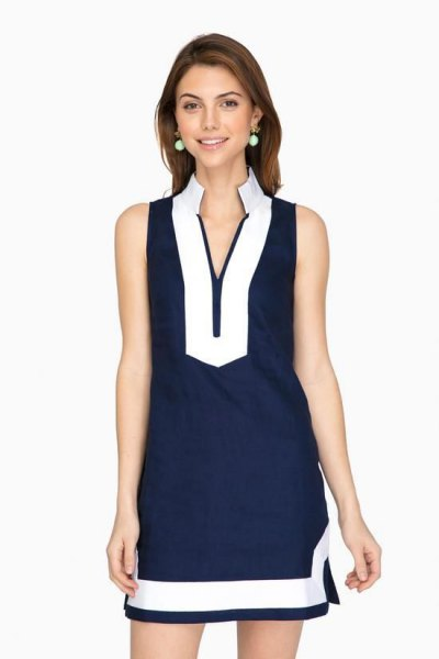 navy and white mock neck tunic dress