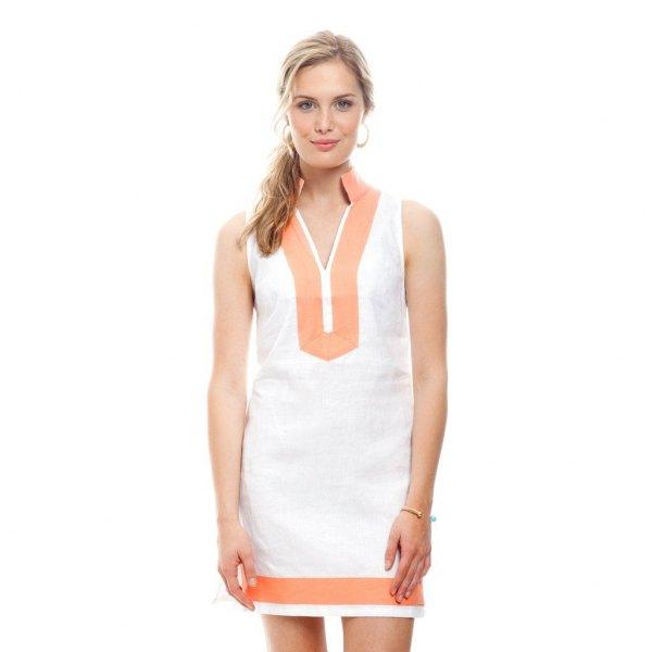 white and pink pink sleeveless tunic dress