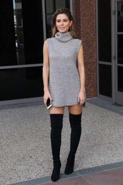 wear gray tunic sweater like super mini dress