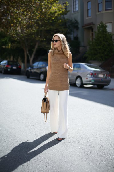 crepe turtleneck tunic sweater with white wide leg trousers