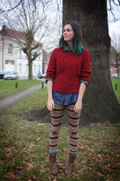 green knitted sweater with chambray shirt and knitted leggings