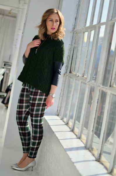 black leather jacket with plaid sweaters leggings and silver heels