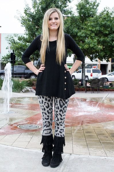 black peplum top with gray leopard sweater leggings