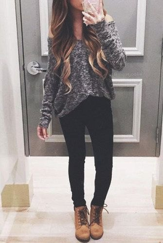 gray heather gray from the shoulder sweater with camel colored boots