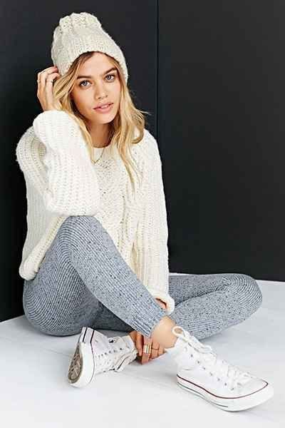 white knitted sweater with gray sweater knit leggings