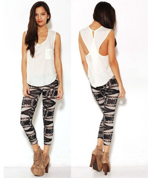 white cutout back with black print on leggings