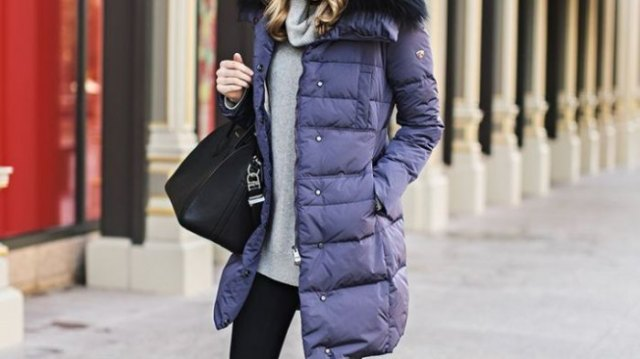 purple long line bubble jacket with gray sweater with cabbage neck