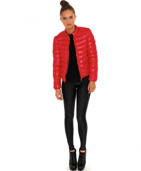 light red fitted bubble jacket with black super skinny jeans