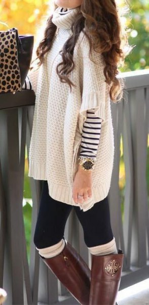 white turtleneck chunky poncho shirt with sleeves overs striped long sleeve tee