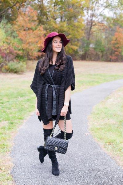 black poncho half-heated poncho sweater cardigan with mini dress