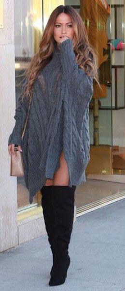 gray cable knit poncho sweater dress with sleeves