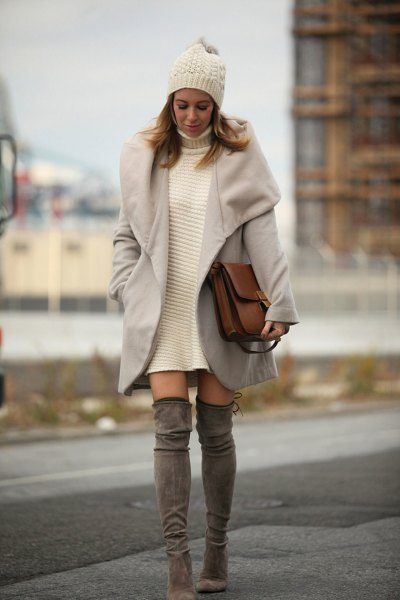white turtleneck sweater dress with gray longline wool coat