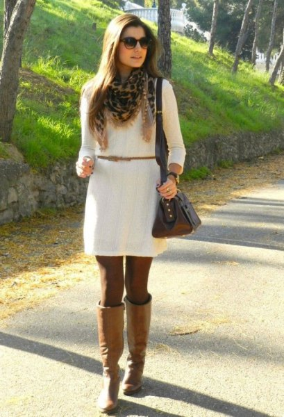 white belt dress with camel high leather boots