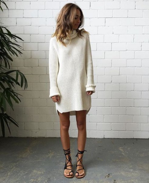 white sweater neck dress with gladiator sandals
