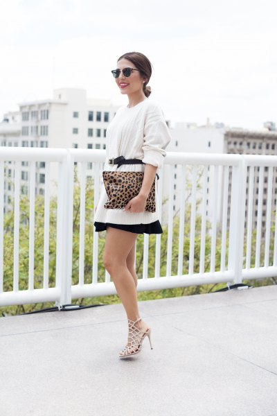 white belt oversized sweater with mini skater skirt