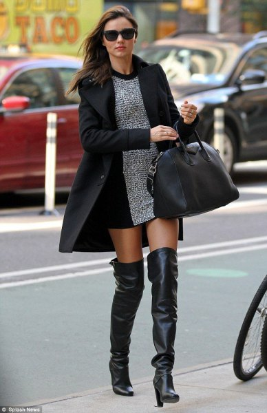 Heather gray mini shift dress with black long wool coat and leather high heels