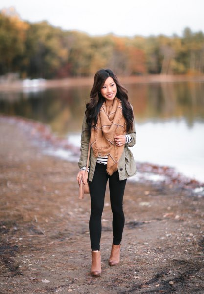 gray blazer with crepe fringe scarf and camel leather with open toe