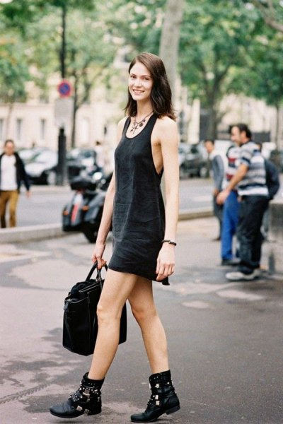 black scoop neck mini tank shift dress with leather boots in biker