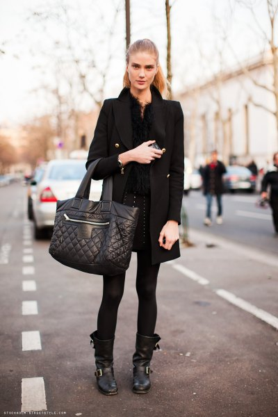 black long wool coat with leather-moto boots