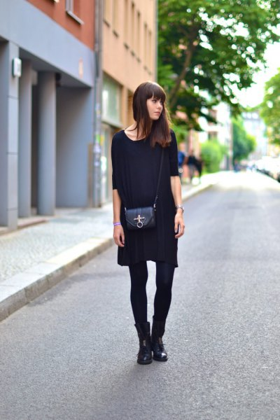 black half-heated mini shift dress with socks and boots
