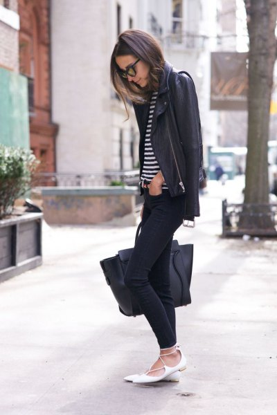 black leather jacket with striped tee and white, pointed flats